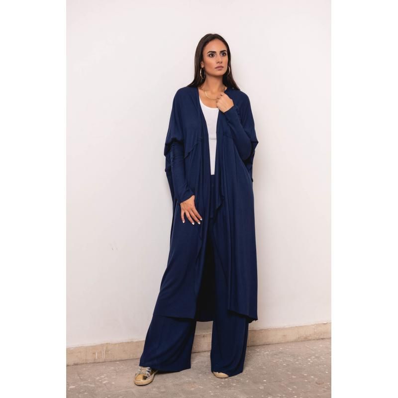 Maxi Knitted Cardigan In Navy