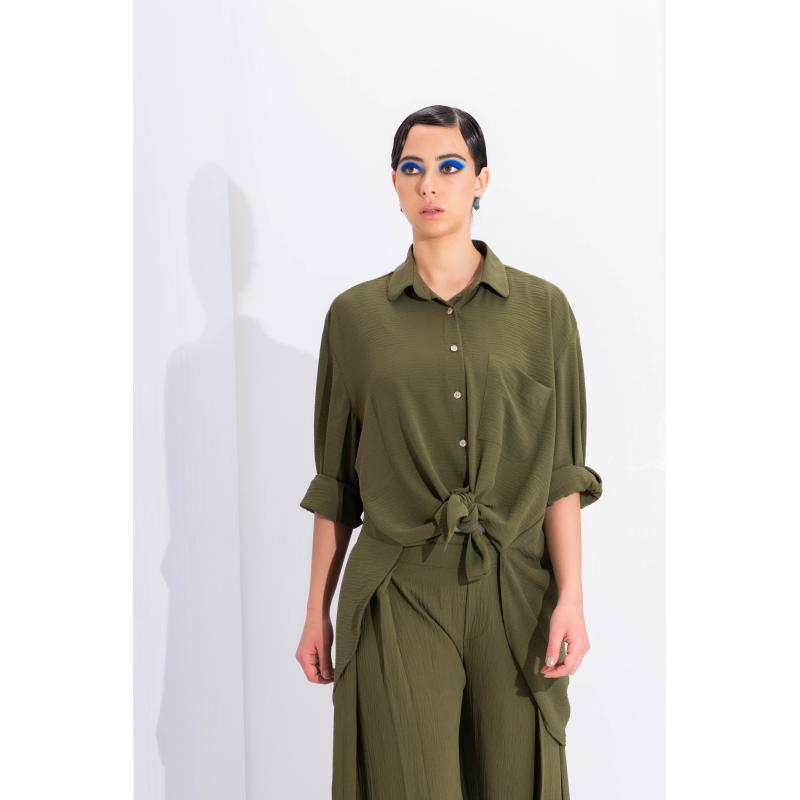 Oversize Crushed Shirt In Olive