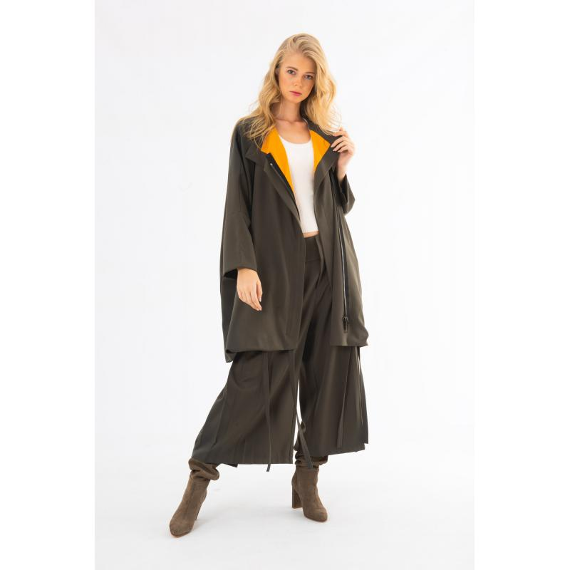 Colored Lining Oversized Zipped Cardigan In Grey