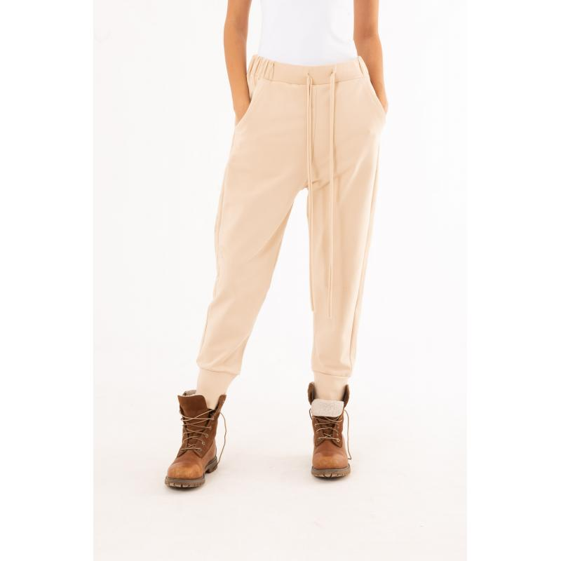 Low Crotch Classic Jogger In Beige