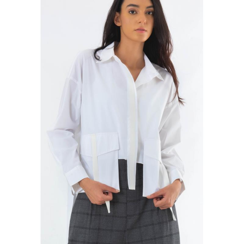 Cropped Cargo Shirt In White